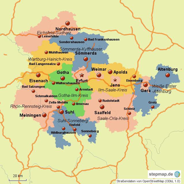 Karte Thüringen.Stepmap Thüringen Neue Landkreise 2016 Landkarte Für Deutschland