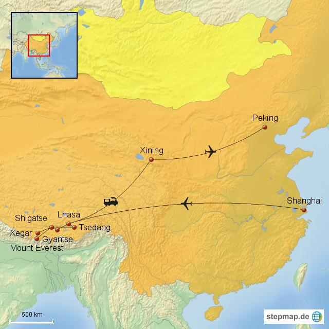 StepMap - Tibet Reise mit Mount Everest Base Camp - Landkarte für China