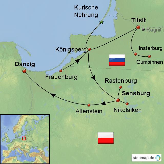 Karte Ostpreußen.Stepmap Tilsit Und Ostpreußen Landkarte Für Europa
