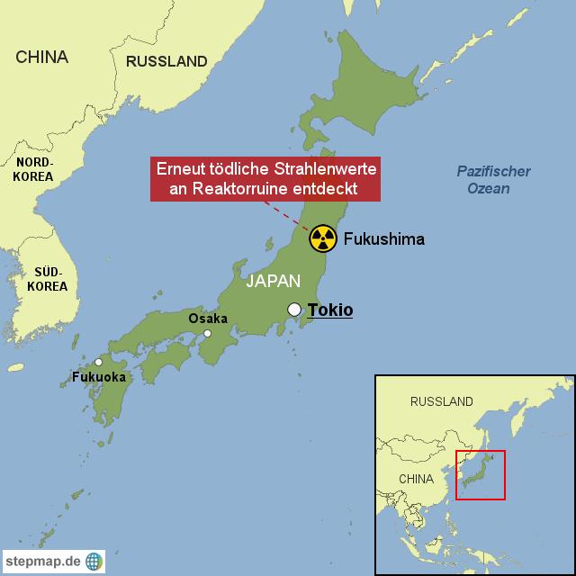 Stepmap Todliche Strahlenwerte Fukushima Landkarte Fur Japan