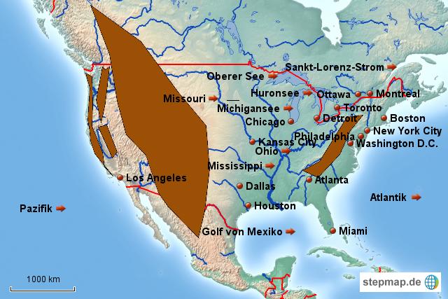 stepmap topographie angloamerika landkarte f r nordamerika. Black Bedroom Furniture Sets. Home Design Ideas