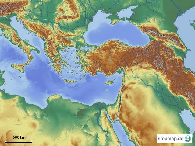 Mittelmeer Karte.Stepmap Topographische Karte Mittelmeer Naher Osten
