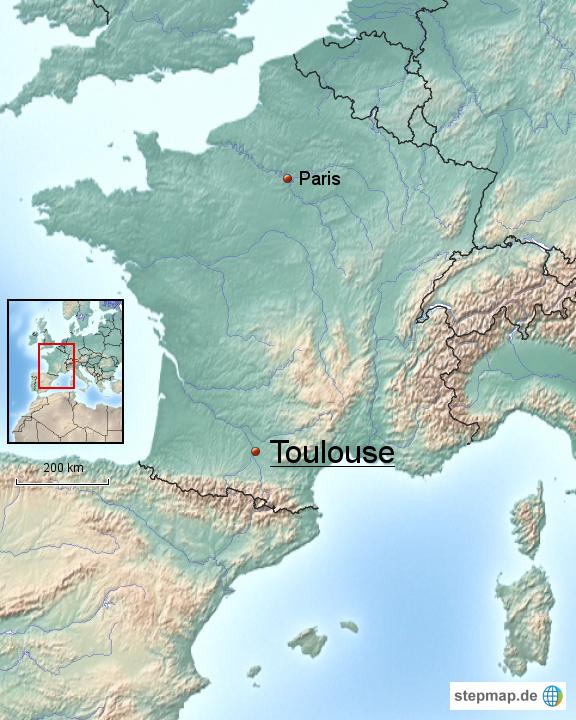 Toulouse Karte.Stepmap Toulouse Frankreich Landkarte Für Frankreich