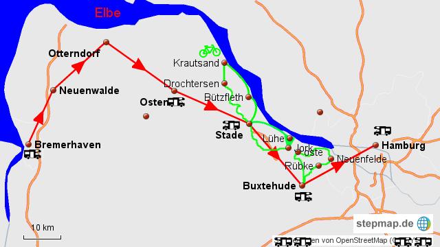 altes land karte StepMap   Tour 18 Altes Land Hamburg   Landkarte für Deutschland