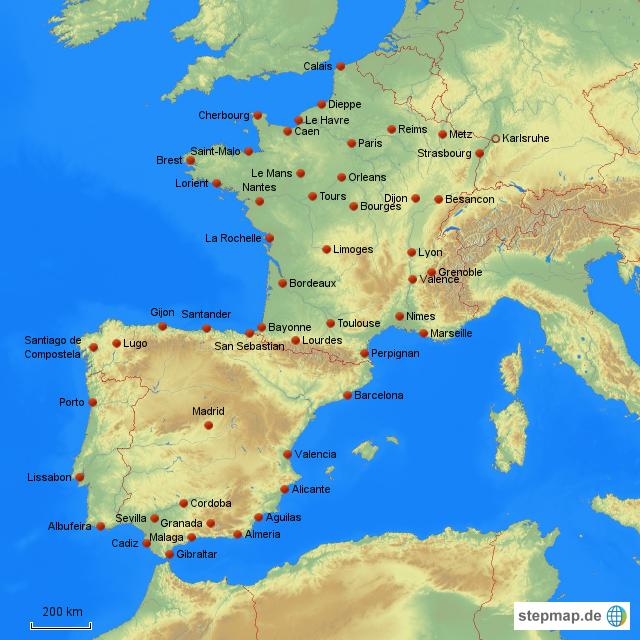 landkarte deutschland frankreich spanien StepMap   Tour Frankreich Spanien Portugal   Landkarte für Deutschland