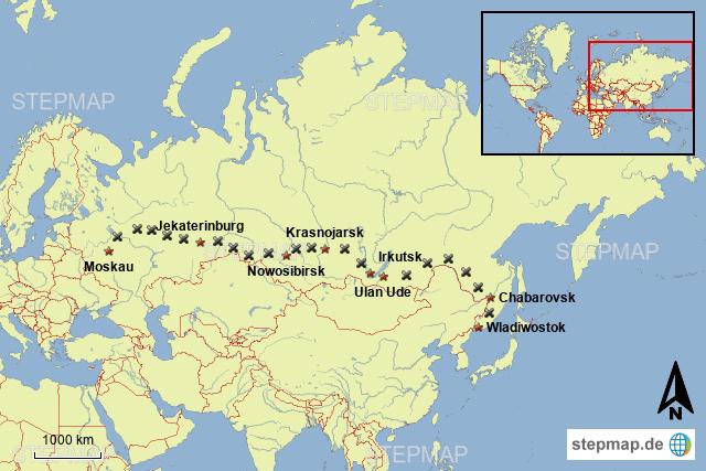 stepmap transsibirische eisenbahn landkarte f r russland. Black Bedroom Furniture Sets. Home Design Ideas