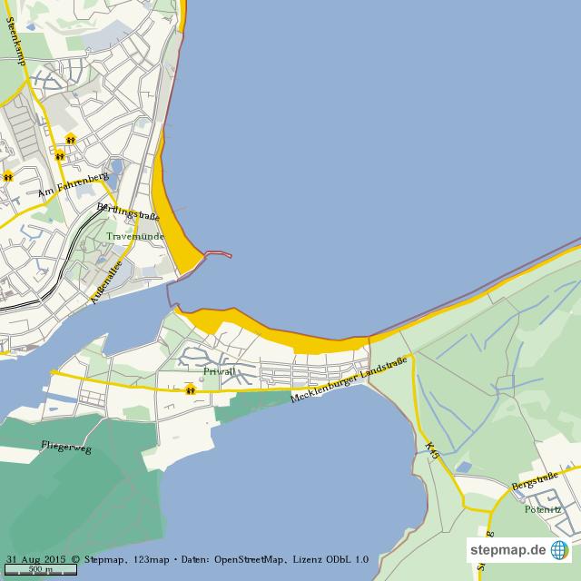 Priwall Karte.Stepmap Trawemunde Priwall Potenitz Landkarte Fur Welt
