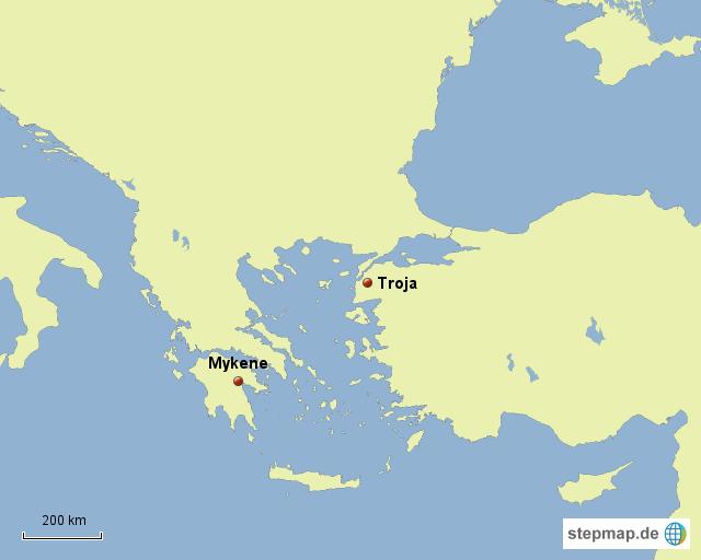 troja karte StepMap   Troja, Mykene   Landkarte für Griechenland