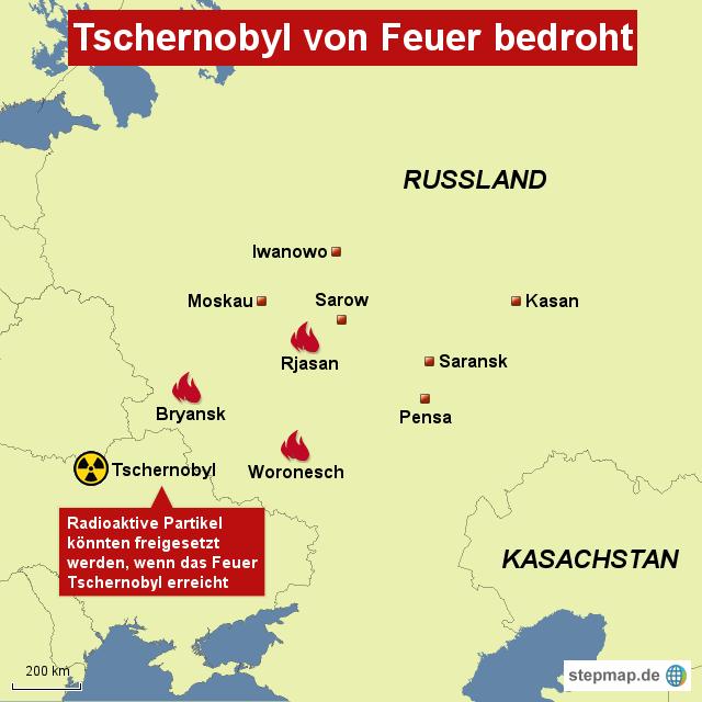 Tschernobyl Karte.Stepmap Tschernobyl Von Feuer Bedroht Landkarte Für Russland