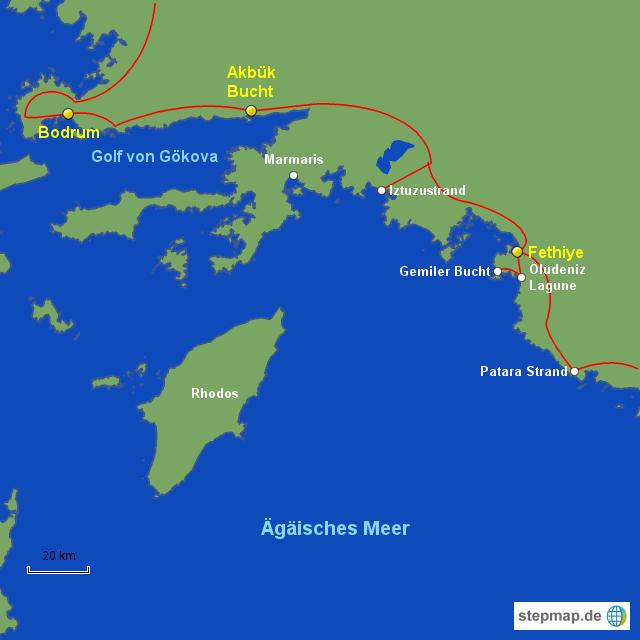 Bodrum Karte.Stepmap Türkei 5 Bodrum Fethiye Landkarte Für Türkei