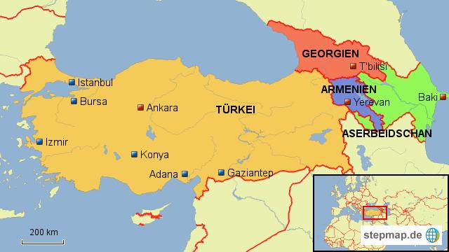 Karte Türkei.Stepmap Türkei Kaukasus Landkarte Für Türkei