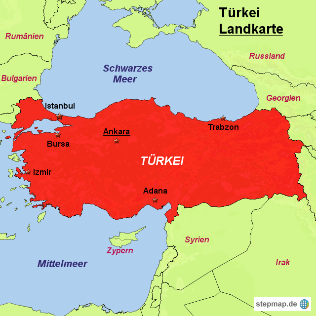 türkei landkarte StepMap   Türkei Landkarte   Landkarte für Türkei türkei landkarte