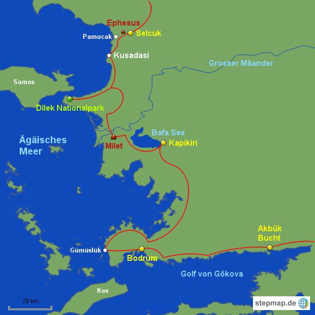 Bodrum Karte.Stepmap Türkei West 4 Ephesus Bodrum Landkarte Für Türkei