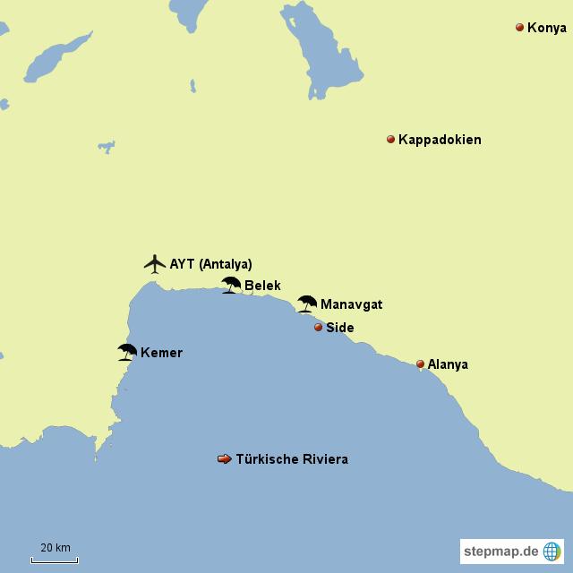 Türkische Riviera Karte.Stepmap Türkische Riviera Landkarte Für Deutschland