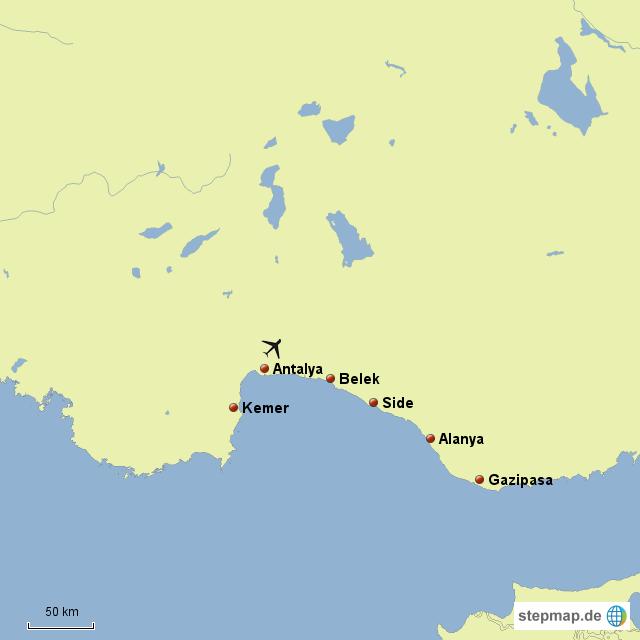 Türkische Riviera Karte.Stepmap Türkische Riviera Landkarte Für Europa