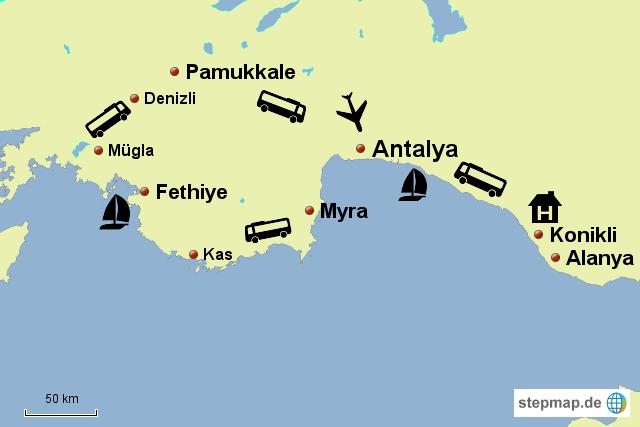 Türkische Riviera Karte.Stepmap Türkische Riviera Landkarte Für Türkei