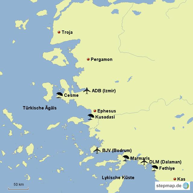 türkische ägäis karte StepMap   Türkische Ägäis   Landkarte für Türkei türkische ägäis karte