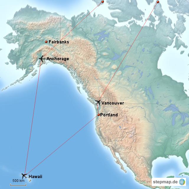 StepMap - USA Alaska Hawaii - Landkarte für Nordamerika