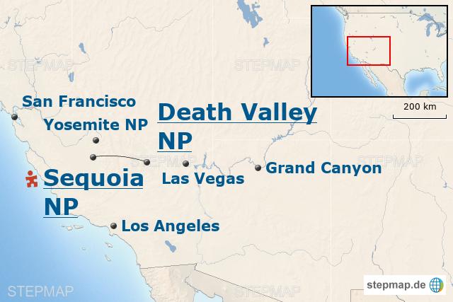 StepMap - USA-Baustein: Vom Death Valley zum Sequoia Nationalpark ...