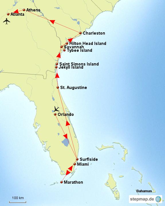 StepMap - USA: Florida- Georgia - South Carolina - Landkarte für USA