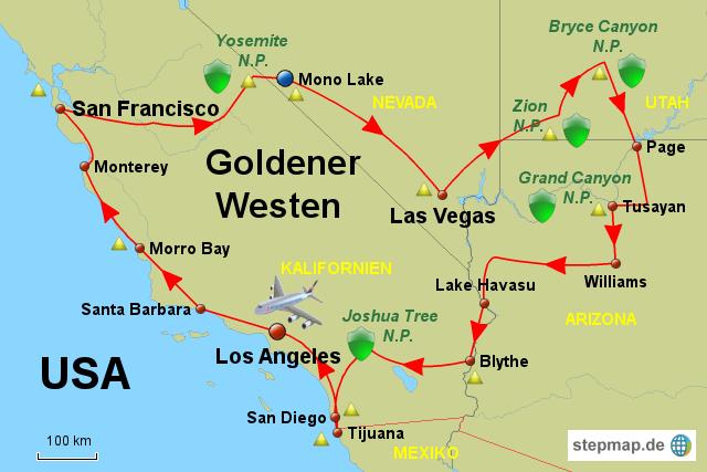 Karte Usa Westen.Stepmap Usa Goldener Westen Landkarte Für Deutschland