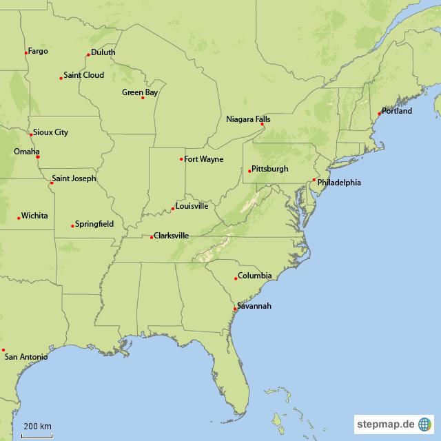 usa ostküste karte StepMap   USA Ostküste   Landkarte für USA