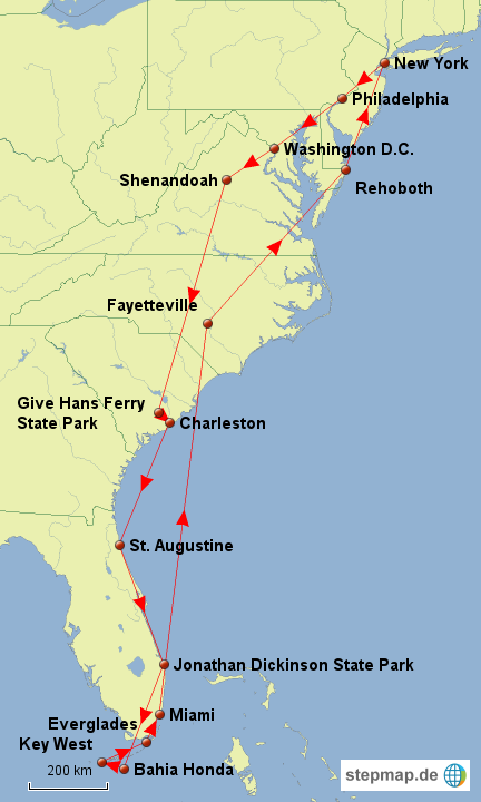 Stepmap Usa Ostkuste Landkarte Fur Usa