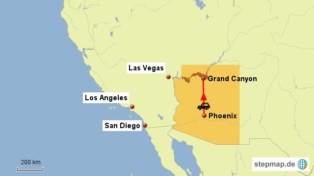 StepMap - USA Reise Phoenix-Grand Canyon - Landkarte für USA
