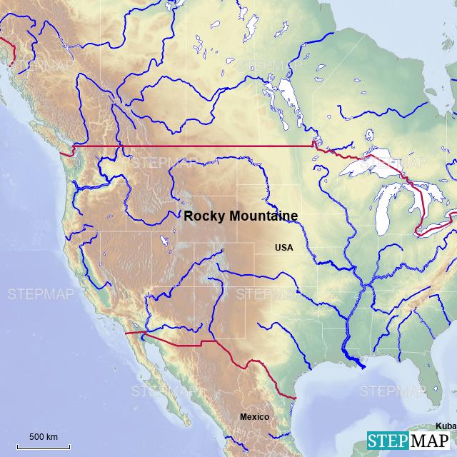 StepMap - USA Rocky Mountains - Landkarte für Nordamerika
