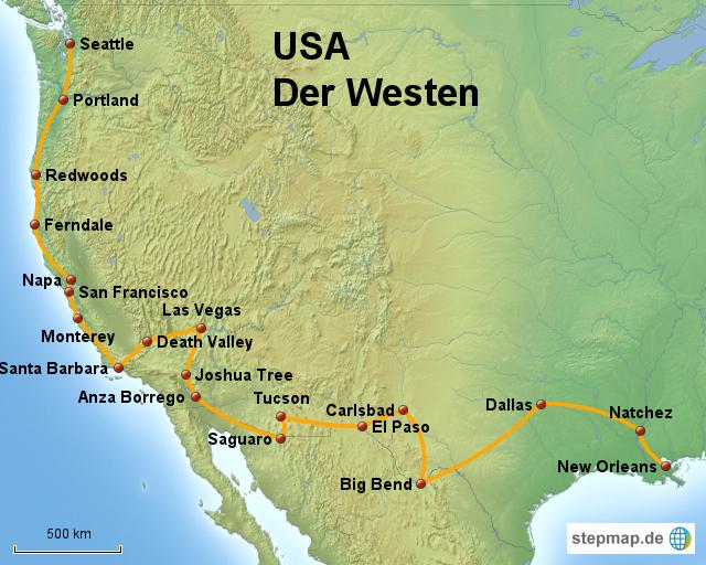 Karte Usa Westen.Stepmap Usa Süden Und Westen Landkarte Für Nordamerika