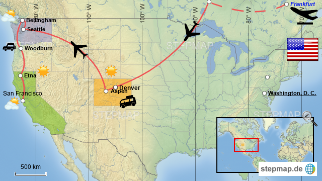 StepMap - USA Trip 2017 - MAP - Landkarte für USA