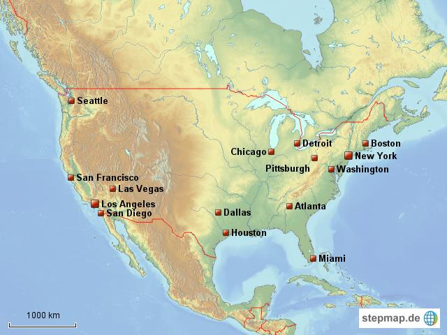 usa wichtigste st dte von juliawagner landkarte f r nordamerika. Black Bedroom Furniture Sets. Home Design Ideas