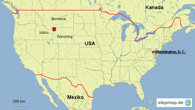 StepMap - USA - Yellowstone - Landkarte für USA