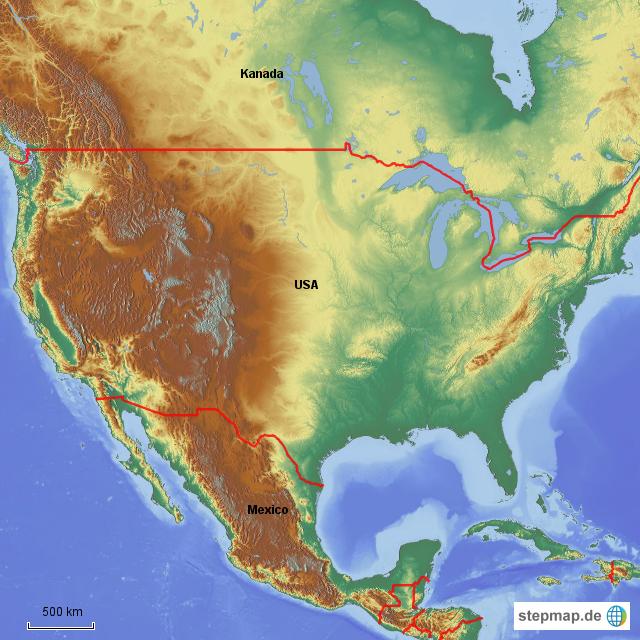 Physische Karte Usa.Stepmap Usa Physisch Landkarte Fur Nordamerika