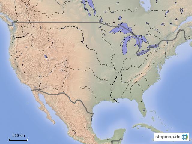Physische Karte Usa.Stepmap Usa Physisch Stumm Landkarte Fur Nordamerika