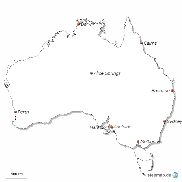 australien karte umriss StepMap   Umriss Australien   Landkarte für Australien