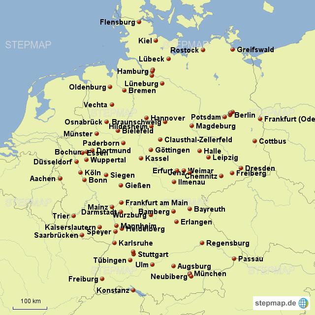 stepmap universit ten in deutschland landkarte f r
