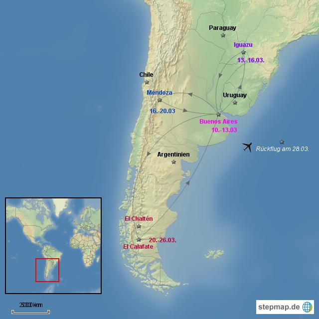 urlaub argentinien von melaniekress landkarte f r. Black Bedroom Furniture Sets. Home Design Ideas