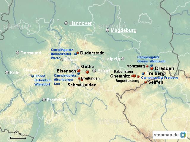 StepMap - Urlaub in Südostdeutschland - Landkarte für