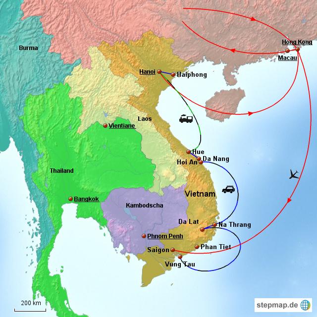 stepmap  urlaub mit kinder  landkarte für vietnam
