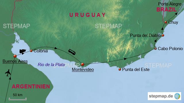 Uruguay Karte Südamerika