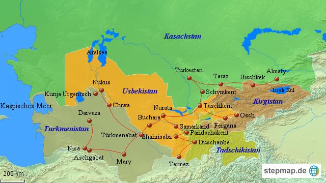 usbekistan karte StepMap   Usbekistan Karte   Landkarte für Usbekistan usbekistan karte