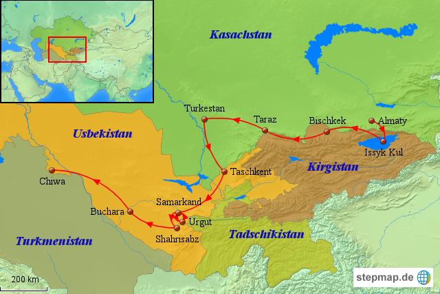 seidenstraße karte StepMap   Usbekistan Karte: Zentralasien Rundreise: Legendäre