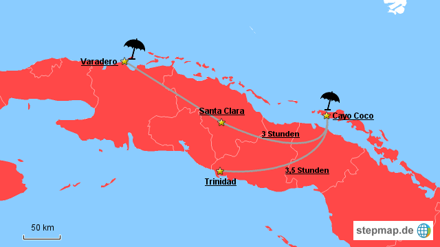 Karte Kuba Varadero.Stepmap Varadero Vs Cayo Coco Landkarte Für Kuba