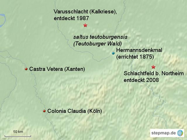 Varusschlacht Karte.Stepmap Varusschlacht Ortslagen Landkarte Fur Deutschland