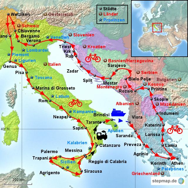Karte Montenegro Kroatien.Stepmap Velo Sudeuropareise Landkarte Fur Italien