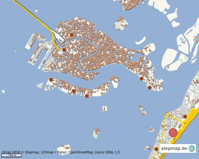 Venedig Karte.Stepmap Venedig Mit Lido Landkarte Fur Welt