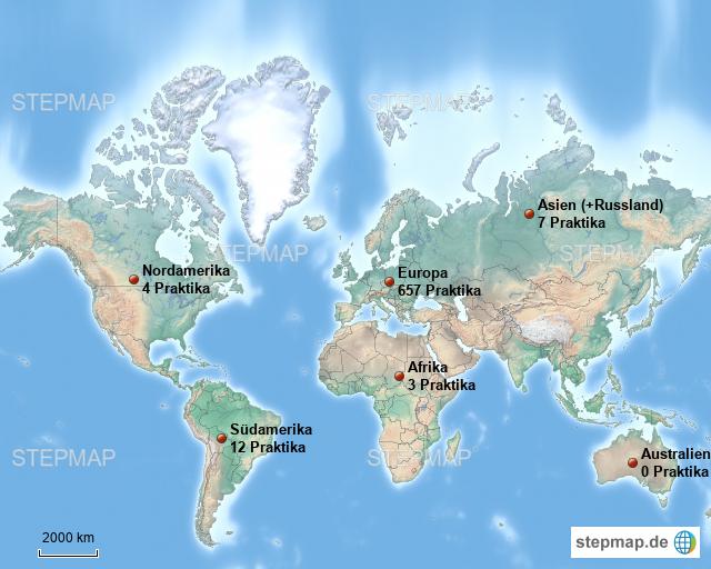 Karte Kontinente Welt.Stepmap Verteilung Absolvierter Praktika Auf Die