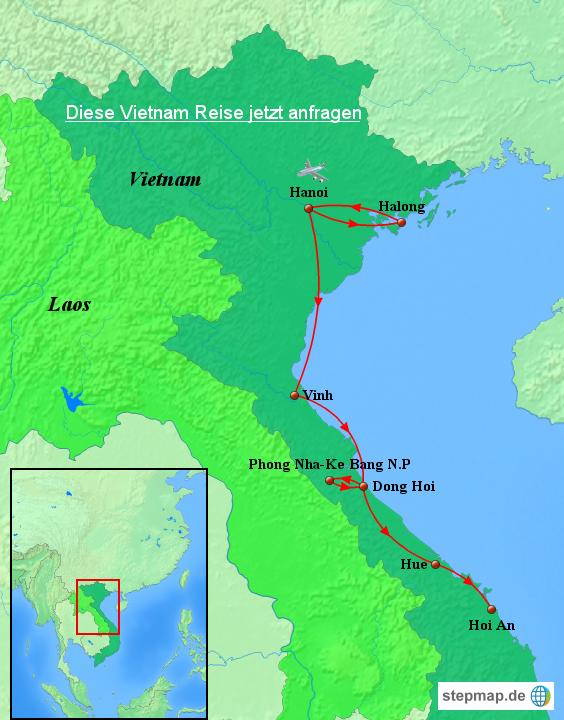 stepmap vietnam karte vietnam rundreise mit