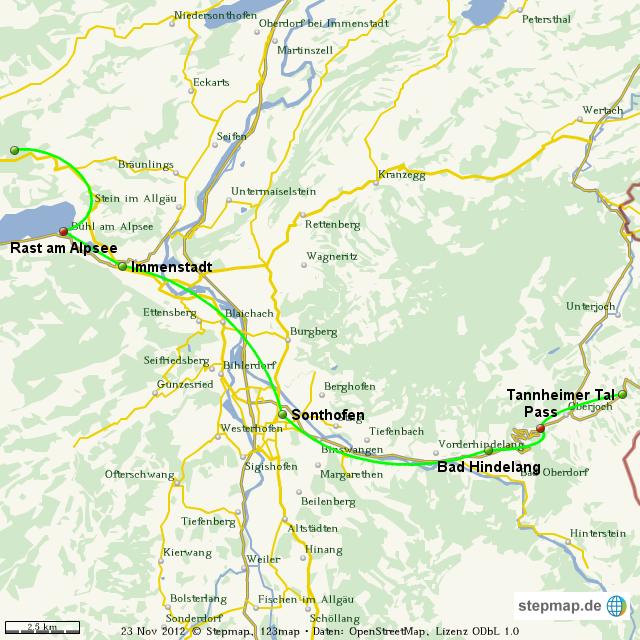 Tannheimer Tal Karte.Stepmap Vom Alpsee Ins Tannheimer Tal Landkarte Fur Welt